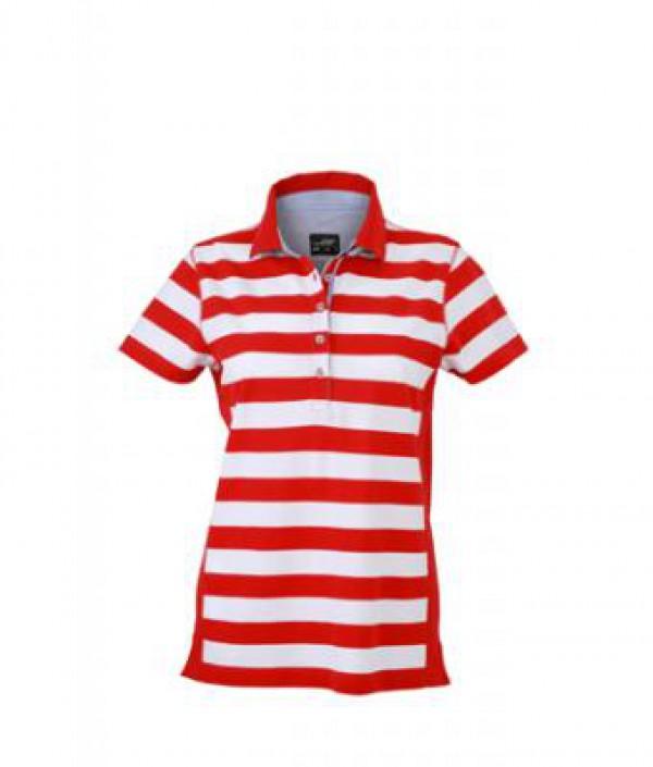 7d54a40891 Taboo Hungary - James & Nicholson Piros Csíkos női galléros póló