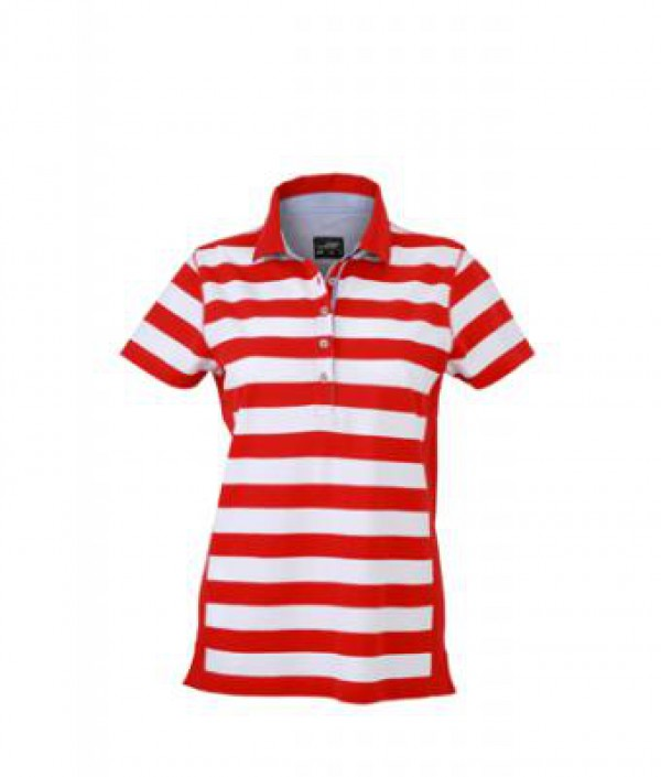 James & Nicholson Piros Csíkos női galléros póló