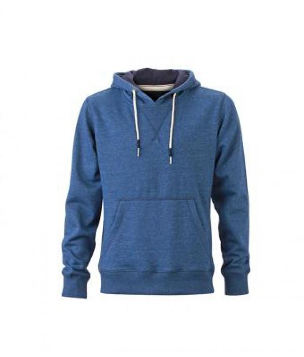 James & Nicholson kék Férfi kapucnis pulóver