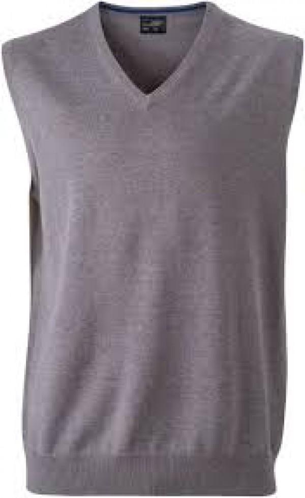 James & Nicholson  Férfi V-nyakú ujjatlan pulóver szürke színű