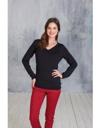 Fekete női hosszú ujjú V nyakú pulóver