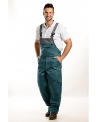 Zöld-szürke színű férfi kantáros nadrág, 300g